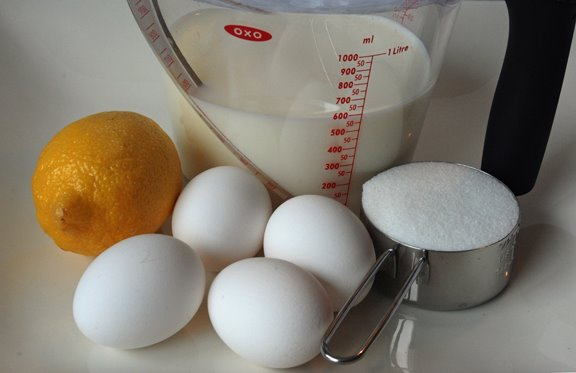 Ingredients for Lemon Cup Custard
