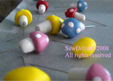Sculpey Mushroom pins pincushion sewing craft project fimo