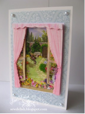 Flowersoft Birthday Scenic Summer Window Card with Pearls