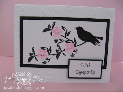 sympathy card Rhonda Farrer Christmas Swirls stamps set Bird stamp with Retro Flower Punch