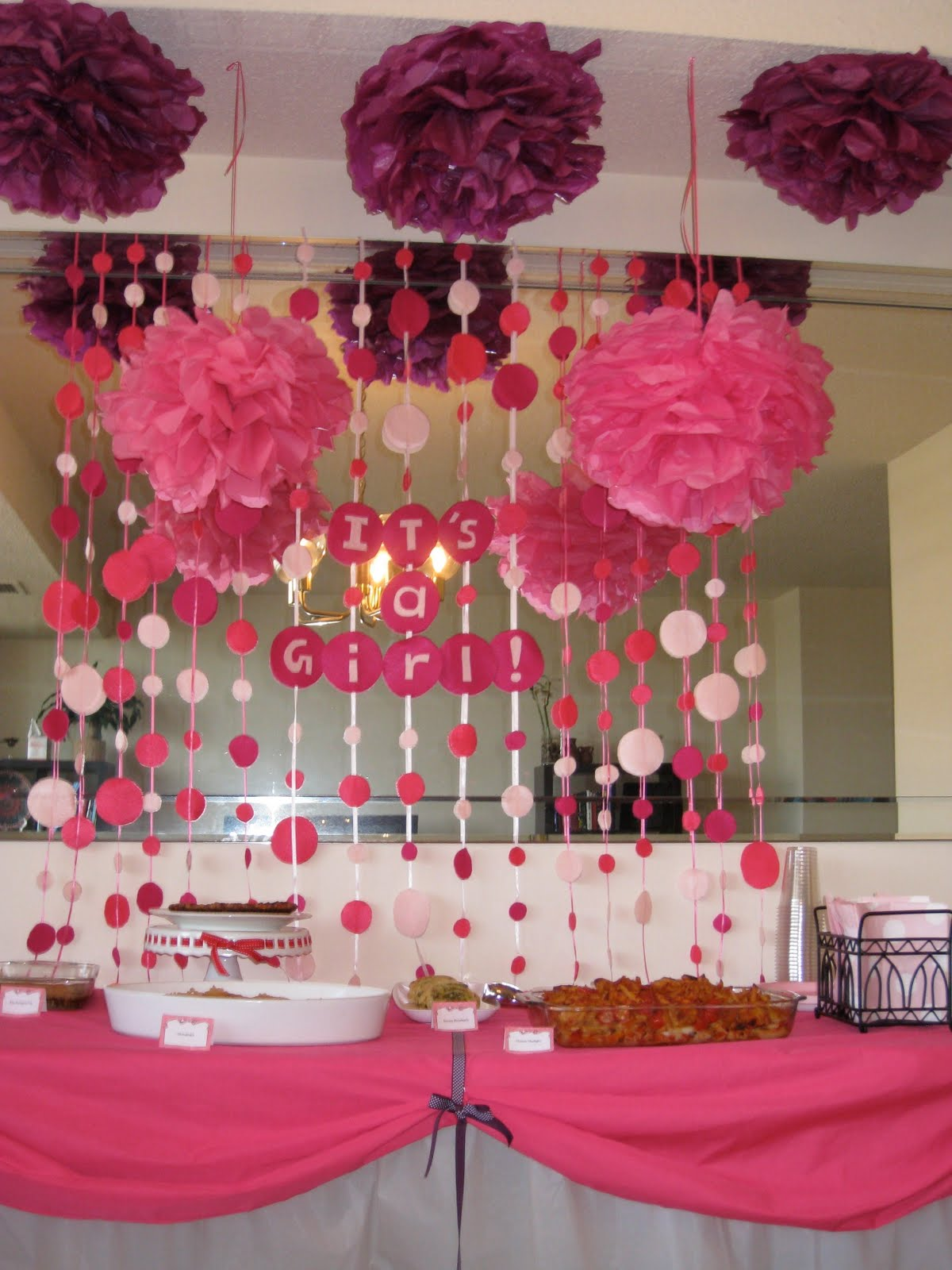 Baby shower food ideas baby shower ideas for a girl for Baby shower at home decorations