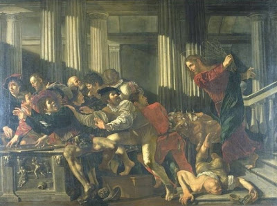 Espulsión de los mercaderes del templu, por Cecco del Caravaggio(Staatliche Museen, Berlín)