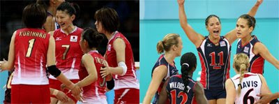 Pictures of Japan's Olympic Volleyball Team Uniform and of the U.S. Olympic Volleyball Team Uniform