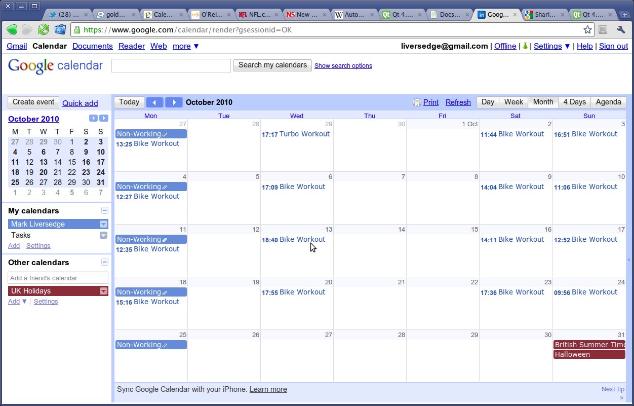 And here is my google calendar in chrome after i uploaded october s