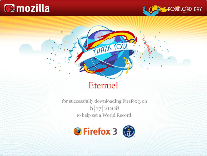 Firefox 3 download day 17 06 2008 Eterniel's certificate