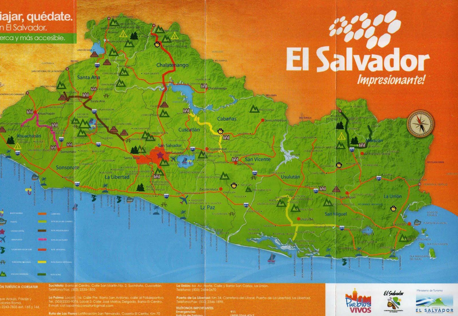 El Salvador Turismo Mapa