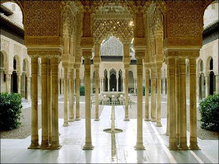 The Lion Courtyard at The Alhambra in Granada