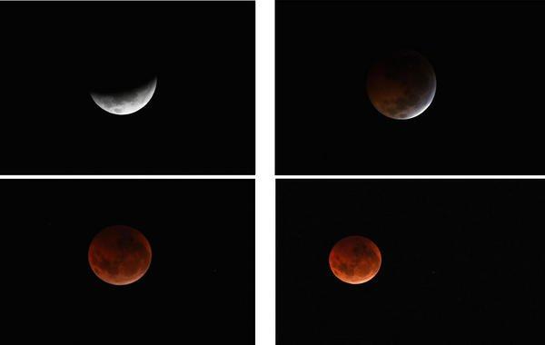 Diferentes fases de un eclipse lunar