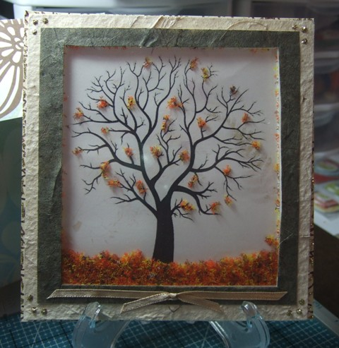 Cut By Connie Autumn Falling Leaves Shaker Card