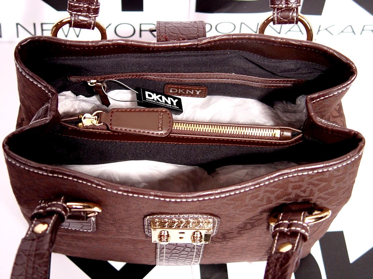 DKNY Signature Brown Medium Satchel Handbag ~ RM750