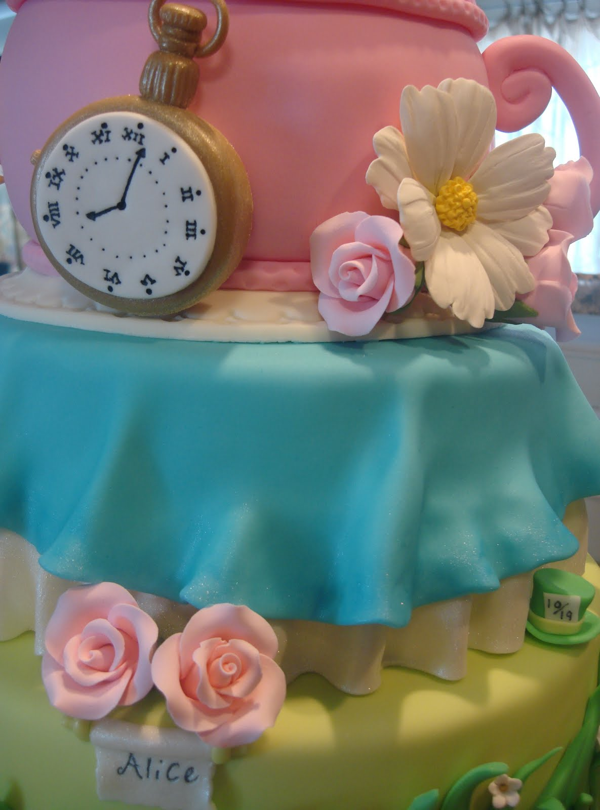 An Alice In Wonderland Inspired Baby Shower Cake