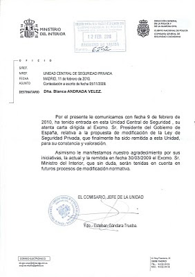 Secci n sindical securitas barcelona carta del for Ministerio del interior barcelona