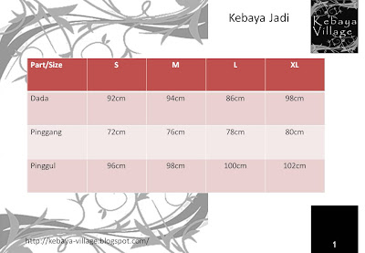Kebaya Jadi Size Chart (Terms and Conditions applies)