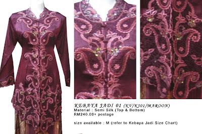 Size M: RM240 + P&P - KJ01 Kebaya Jadi Maroon