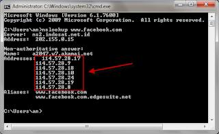 cmd Cara mencari IP address dari sebuah domain menggunakan command prompt