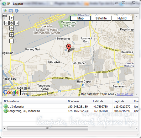 Result TraceIP Cara mencari IP Lokasi dengan IP Locator