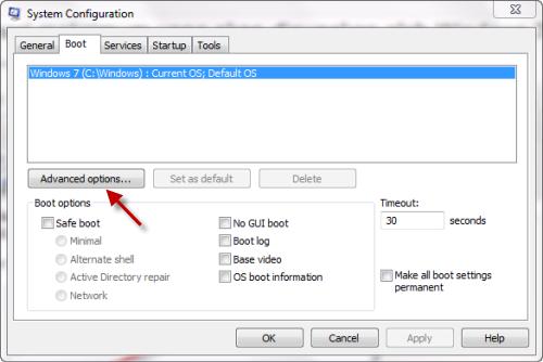 msconfig Boot Mengatur Memori maksimum yang akan digunakan oleh Windows 7