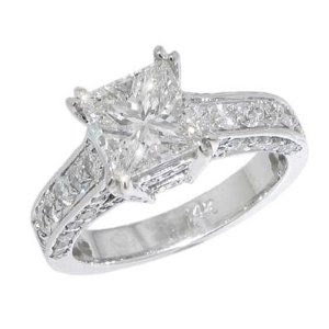 Princess Diamond Engagement Ring in 18 kt. Pave Mounting Size 8.5