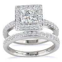 Princess Diamond Bridal Set in 14k White Gold Ring