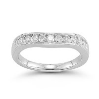 14k White Gold Round Diamond Ring Contour Anniversary Band