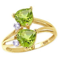 Yellow Gold Twin Heart Gemstone and Diamond Ring