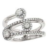 Round prong and Pave Set By-Pass Diamond Band Ring
