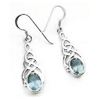 Celtic Knot Blue Topaz Hook Earrings