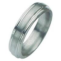 Titanium Grooved Edge satin ring