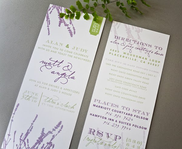 napa inspired wedding reception invitation