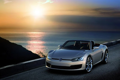 VW Roadster Blue Sports Car