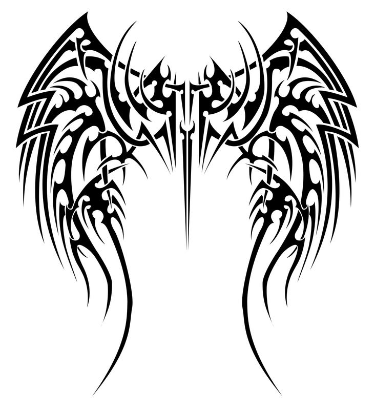 Photo of Tribal Names Tattoo Designs. Tribal Angel Wings Tattoos Pictures