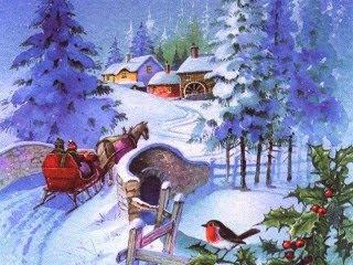 320x240 besplatne slike za mobitele: Snijeg u selu za vrijeme