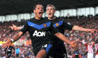 celebration goal javier hernadez man utd