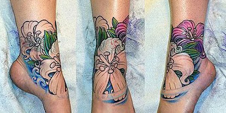 tattoo on feet, flower tattoo