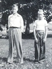 Clayton D. & Keith A. Harriger, 1st Day of School - September 1947
