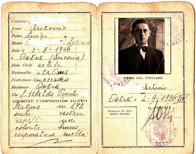 Ostra,rarità,antica carta d'identità
