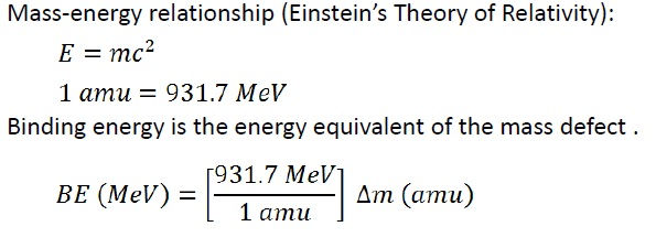 binding energy equation. so how does this relates with our life? basically, if we can calculate be/a where a is the atomic mass for each perspective elements, will get that binding energy equation n