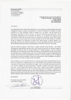 Imagen de la carta enviada a Manuel Chaves