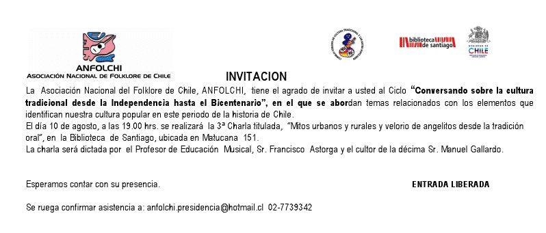 la invitacion para la charla de hoy 10 de agosto de 2010