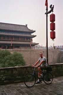 Noah biking on Xian City Wall