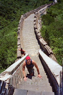 Climbing up to Tower 20 on the Great Wall