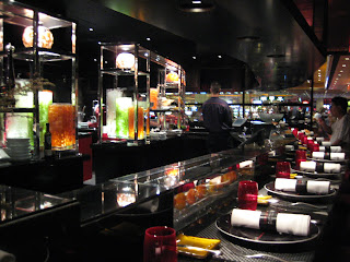 Dinner Counter at L'atelier de Joel Robuchon with the view of the Kitchen.