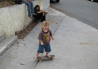 Emery showing off with his skateboard
