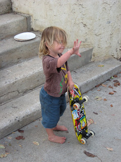 Emery acting cool with his skateboard