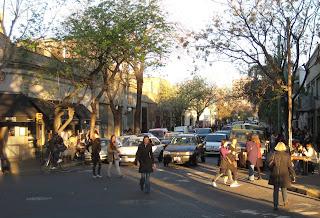 The traffic circle outside the Plaza Serrano in Palermo.