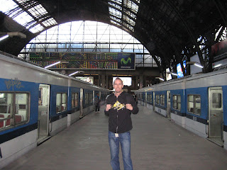 Noah in the Buenos Aires train station.
