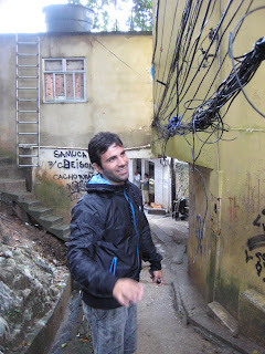 Our guide warning us about the low hanging phone and electrical wires.