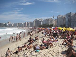 Sunny skies over Copacabana Beach in Rio de Janeiro