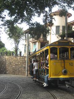 The electric tram in hilly Santa Teresa of Rio de Janeiro.