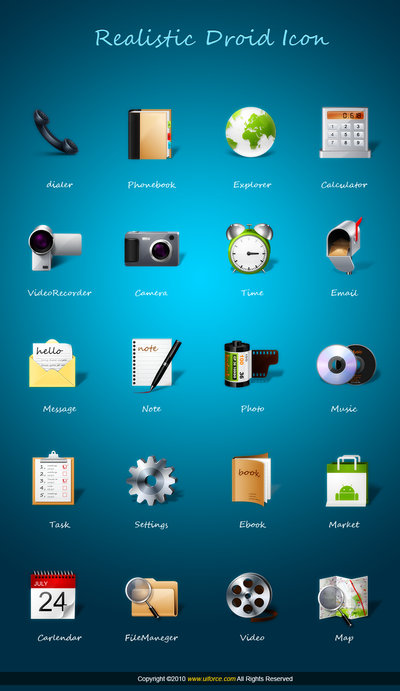 Realistic android icons